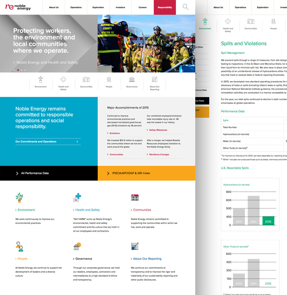 Noble Energy Responsibility Website by Herring Design
